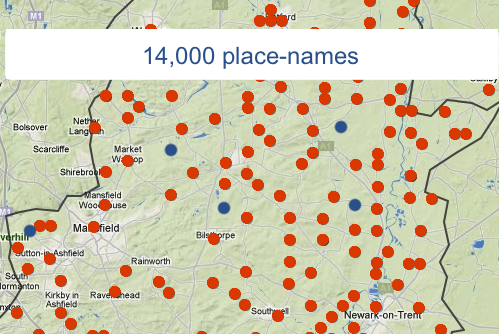 Database comntaing 14,000 place names